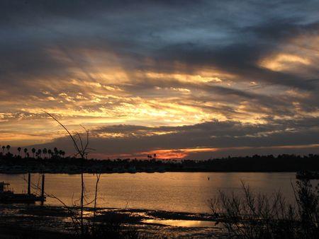 Back-bay sunset in Newport beach California Stock Photo - 638758