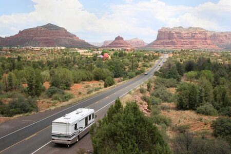 Beautiful scenic view of large RV on the road to Sedona Arizona