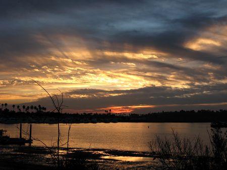 Back-bay sunset in Newport beach California