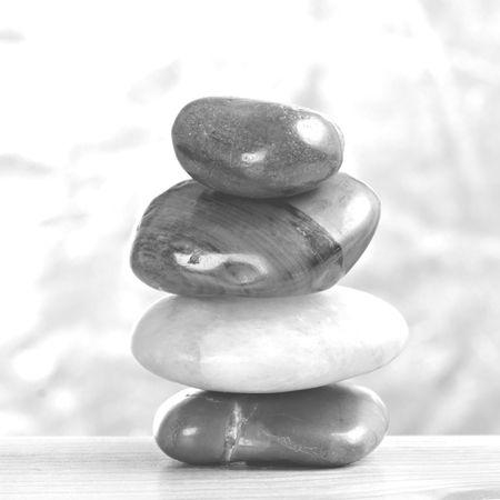 zen stone tower in grey photo