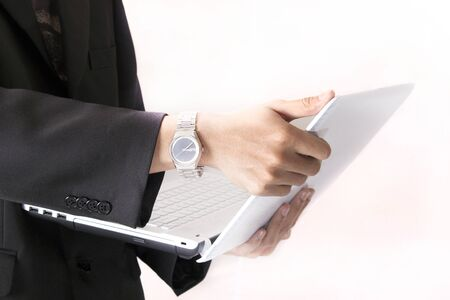 businessman interface notebook Stock Photo - 13045805