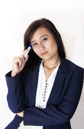 women business think photo