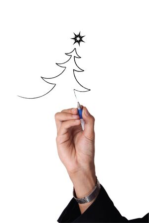 co work: man hand business Christmas Stock Photo