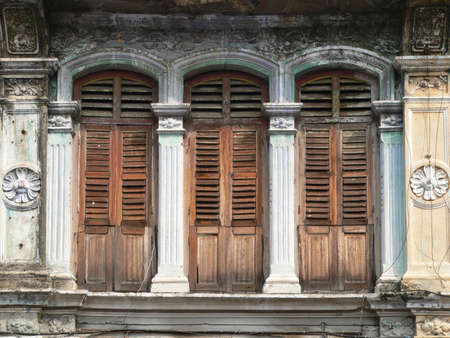 penang: three windows Stock Photo