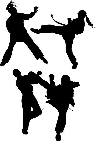 karate silhouette vector Illustration