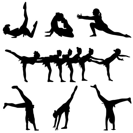 dance and gymnastics people silhouette vector Vector