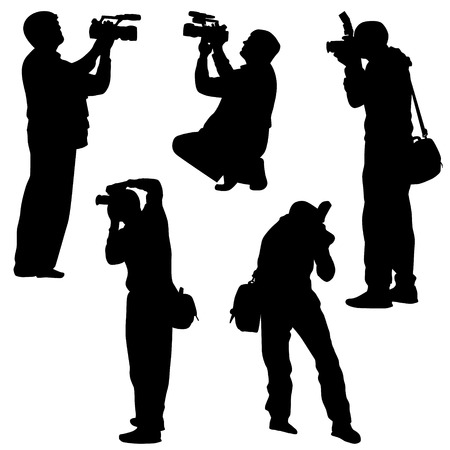 photo shooting: photographer silhouette vector