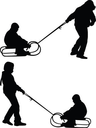 sledding silhouette vector Vector