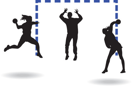 Handball players and goalkeeper silhouette vector