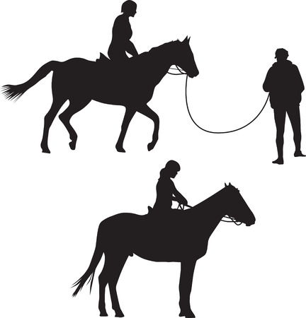 Woman on the horse riding silhouette vector