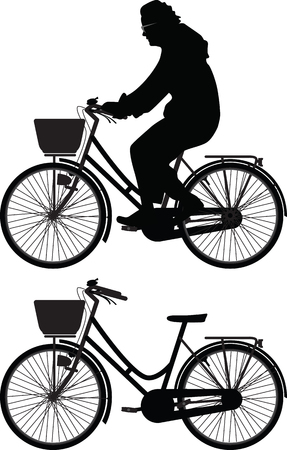 bicyclist woman silhouette vector Vector