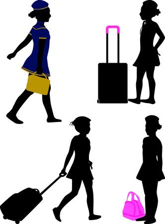 azafata de vuelo: silueta de azafata