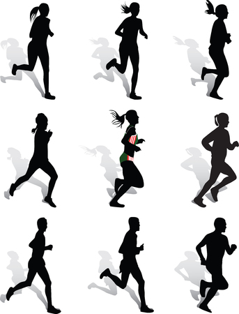 woman and man as runners Vector