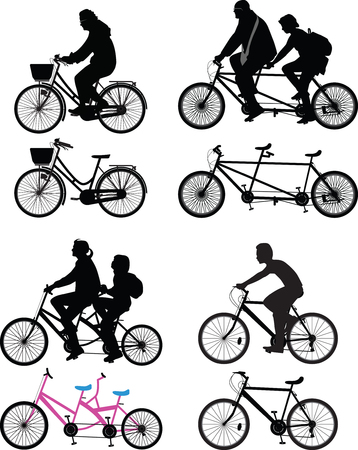 seater: bicyclist silhouette vector