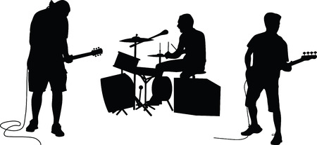 musically: music band silhouette vector Illustration