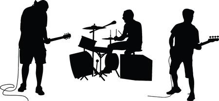 vetor de silhueta de banda de música Ilustración de vector