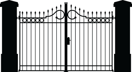 iron fence: gate silhouette