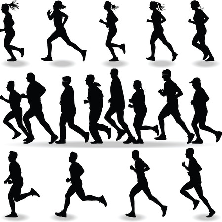runner silhouette vector  イラスト・ベクター素材