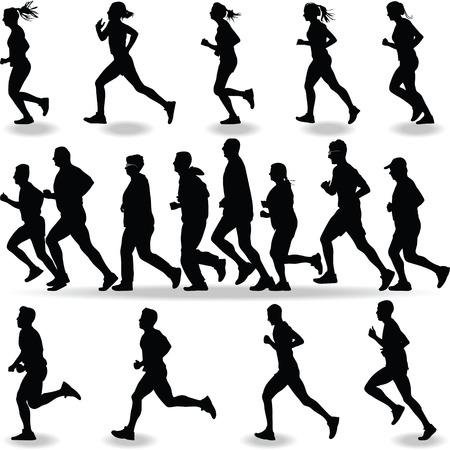 runner silhouette vector Vectores