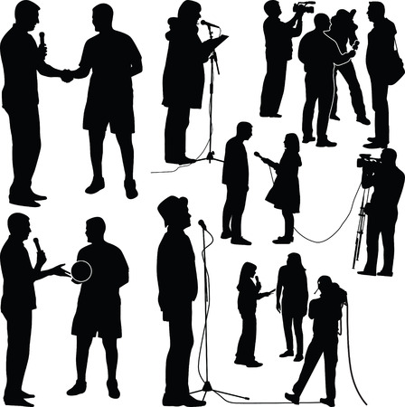 interview silhouette vector Illustration