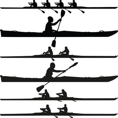 ocean kayak: colección de monoplaza, biplaza y cuatro plazas kayak silueta vector