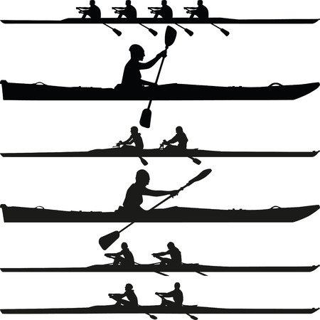 collection of single seater, two-seater and four-seater kayak silhouette vector