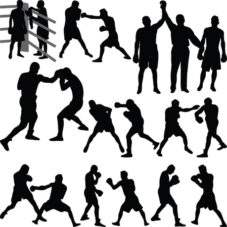 boxing match: boxing match silhouette vector