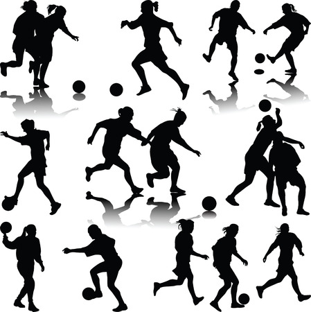 girl kick: woman soccer player silhouette vector