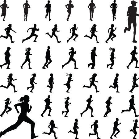 mujeres y niños: corredores vector silueta Vectores