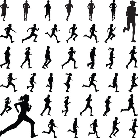 group fitness: runners silhouette vector