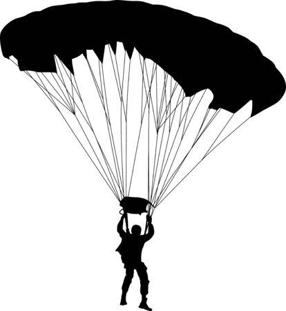 parachuter: parachutist silhouette vector Illustration