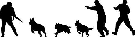 perro policia: terrorista vector silueta Vectores