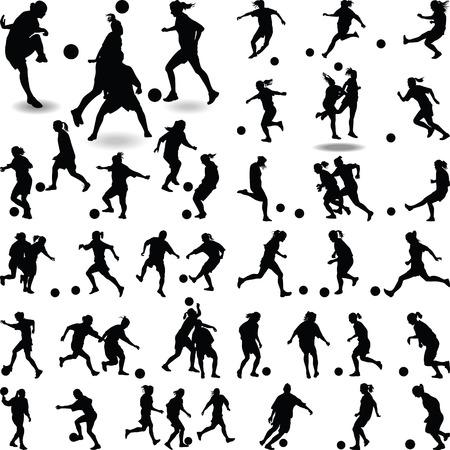 vrouwen voetballer silhouet vector Stock Illustratie