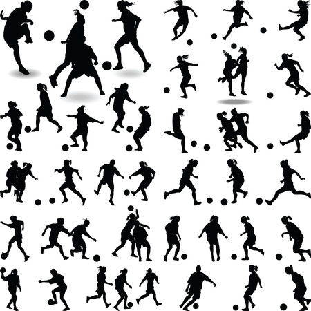 atack: women soccer player silhouette vector