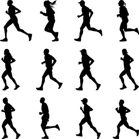runners: runer silhouette vector