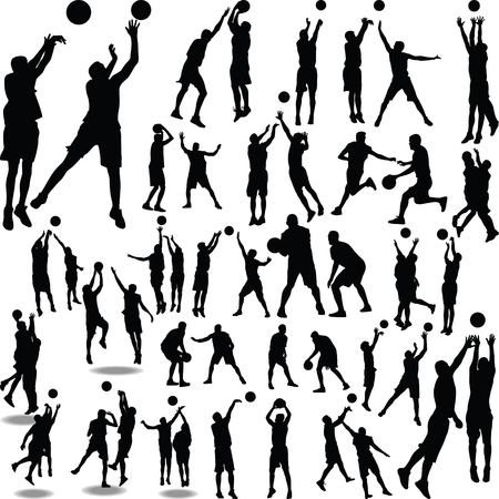 basketballer silhouet vector Stock Illustratie
