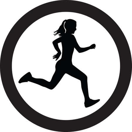 female silhouettes: runner vector icon Illustration