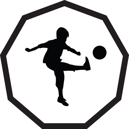 kick ball: kid play soccer Illustration