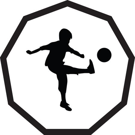 ballon foot: Kid Play Soccer Illustration