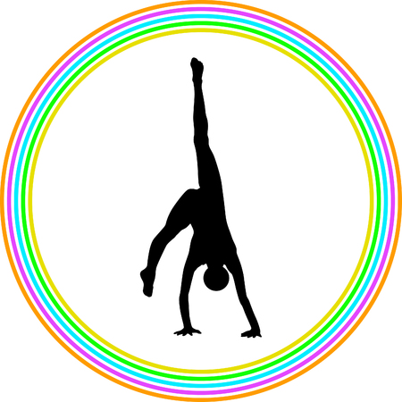 flexible girl: rhythmic gymnastics with ball
