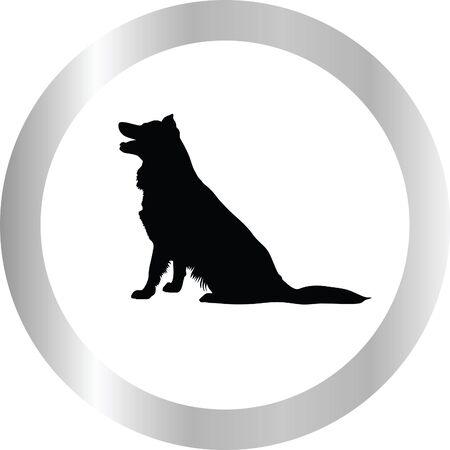 eskimo dog: dog silhouette Illustration