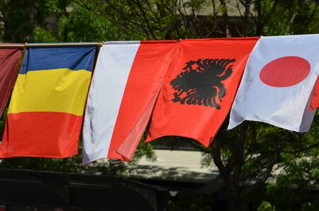 chad: The flags of Chad, Monaco, Albania and Japan