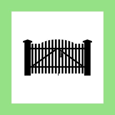 brick house: gate vector icon