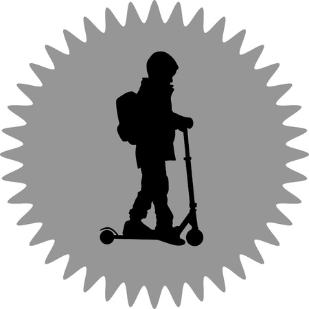 adolescent: kid riding a scooter