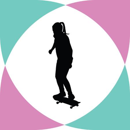 rides: girl rides a skateboard