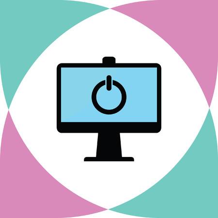 office work: computer screen vector icon Illustration