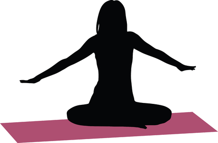 flexible girl: yoga exercise silhouette Illustration