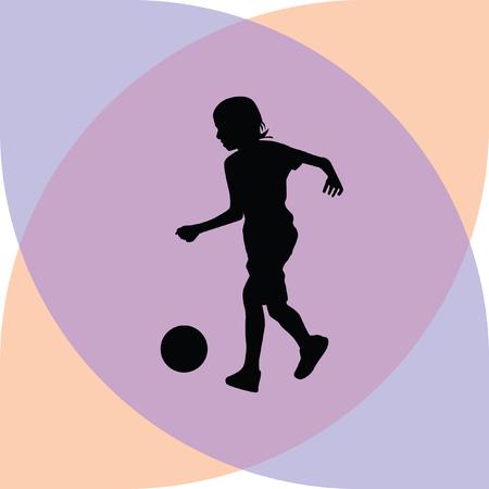 young girl feet: kid play soccer Illustration