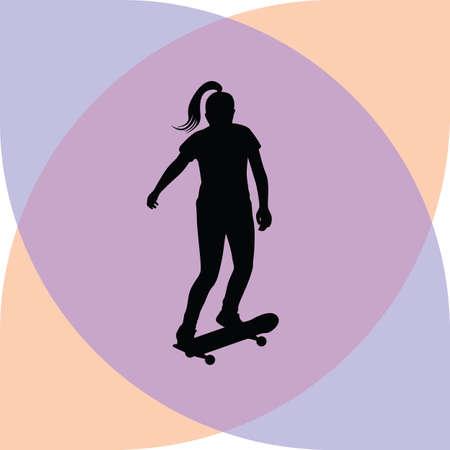long jump: girl rides a skateboard