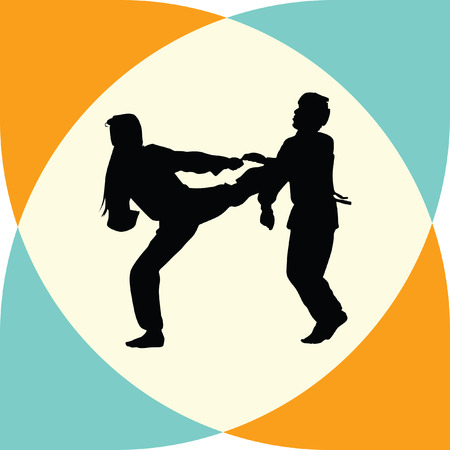 individual sports: taekwondo woman silhouette vector